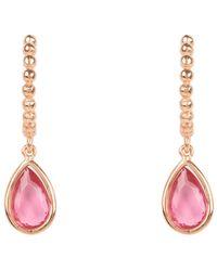 LÁTELITA London Rose Gold Palermo Beaded Hoop Gemstone Drop Earrings With Pink Tourmaline