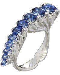 Baenteli - White Gold & Blue Sapphire Cascade Ring | - Lyst