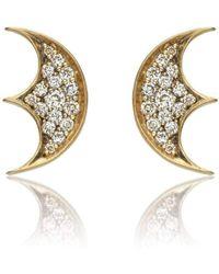 Anahita Jewelry - 18kt Gold Moon Motif Studs - Lyst