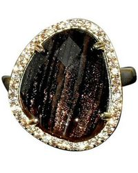 Shimmer by Cindy - Yellow Gold Plated Abstract Halo Cocktail Ring With Black Glass Stone - Lyst