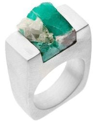 Pasionae - Emerald Silver Ring - Love - Lyst