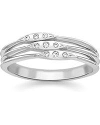 London Road Jewellery - Portobello White Gold Diamond Velvet Leaf Triple Row Ring - Lyst