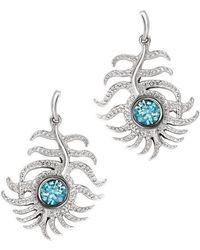London Road Jewellery - Portobello White Gold Blue Zircon Peacock Drop Earrings - Lyst