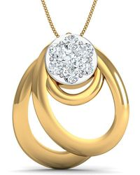 Diamoire Jewels - Hand-carved Pendant With 7 Pave Diamonds In 10kt Yellow Gold - Lyst
