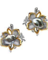 Chekotin Jewellery - White & Yellow Gold Pearl Flower Eden Stud Earrings | - Lyst