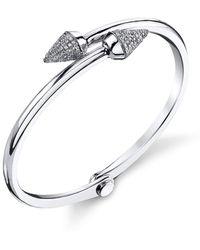 Borgioni - Small Spike Handcuff In White Gold And Pave Diamonds - Lyst