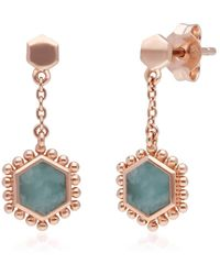 Gemondo Jewellery Gemondo Rose Gold Plated Silver Flat Slice Amazonite Drop Earrings - Blue