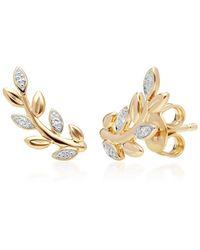 Gemondo Jewellery Gemondo Yellow Gold O Leaf Diamond Pave Stud Earrings