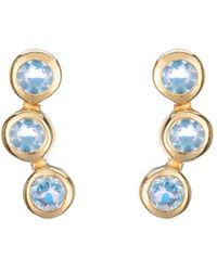 Coco & Kinney - Yellow Gold Plated Alexandra Earrings With Blue Topaz - Lyst