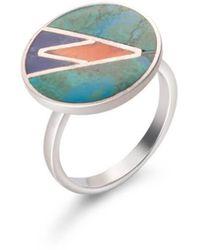 SOLUNA Sterling Silver Mosaic Ocean Ring - Multicolor