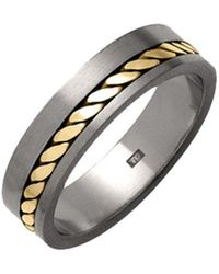 Prism Design - Thick Titanium And 18kt Gold Rope Ring - Lyst
