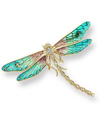 Nicole Barr 18kt Gold Dragonfly Turquoise Brooch - Blue
