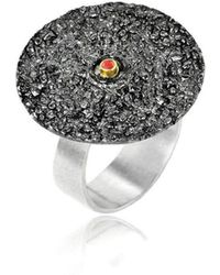 Apostolos Jewellery - The Earth Song Round Oxidised Silver Ring - Lyst