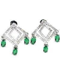 ERAYA - 18kt White Gold Art Deco Diamond Dangler Earrings - Lyst