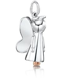 Becky Rowe Silver Guardian Angel Pendant With Rose Gold Feet | - Multicolour