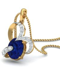 Diamoire Jewels - Oval Shape Sapphire And Diamond Pendant In 18kt Yellow Gold - Lyst