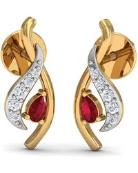 Diamoire Jewels - Prong Set Pear Shaped Ruby And Si3 Diamond Nature Inspired Earrings - Lyst