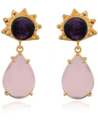 Bhagat Jewels 18kt Gold Plated Purple Amethyst & Rose Quartz Dangle Earrings - Yellow