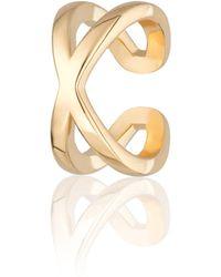 Scream Pretty Gold Plated Cross Over Single Ear Cuff - Metallic