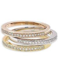 London Road Jewellery Rose Gold Diamond Grain Set Stack Ring - UK L - US 5 1/2 - EU 51 3/4 I0ihAfiF