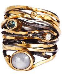 Bergsoe Yellow Gold Twisted Ring With South Sea Pearl, Diamond, & Sapphire   - Uk K 1/2 - Us 5.5 - Eu 50.6 - Metallic