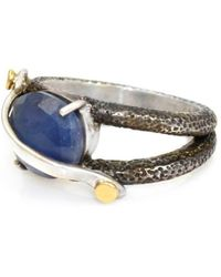 Lisa Robin Ring Band With Oval Blue Sapphire