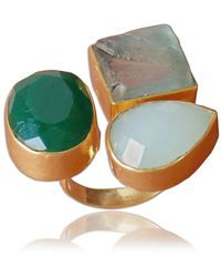 Bhagat Jewels Handmade Green Onyx Aqua Chalcedony And Fluorite Gemstone Wedd - Yellow