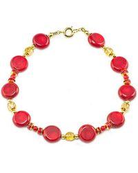 Regenz - Gold Coral Suffragette Bracelet - Lyst