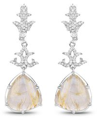 Olivia Leone Rhodium Plated Silver Shiny Golden Rutile Earrings - Metallic