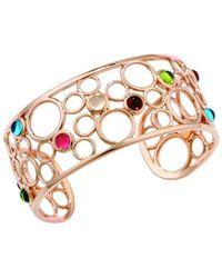London Road Jewellery Pimlico Bubble Rose Gold Multi Gem Cuff Bangle - Metallic