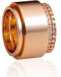 Xavier Civera Rose Double Band Diamond R - Multicolour