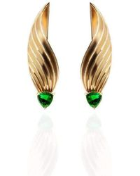 1443e4019 Jane North - Sway Swirl Stud Earrings In Yellow Gold Vermeil With Emerald  Coloured Trillion Glass
