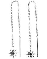 Murkani Jewellery - Sterling Silver & Black Spinel Falling Star Thread Earrings - Lyst
