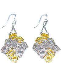 ERAYA 14kt White Gold Honeycomb Diamond Dangler Earrings