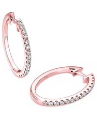 Verifine London 18kt Rose Gold Oval Diamond Hoop Earrings - White