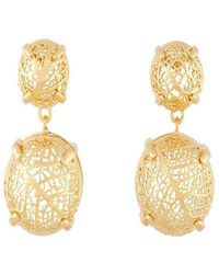 Amazona Secrets - 18kt Gold Savannah Leaf Box Earrings With Claws - Lyst