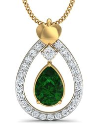 Diamoire Jewels - Nature Inspired Prong Set Brazilian Emerald And Diamond Pendant In 10kt Yellow Gold - Lyst