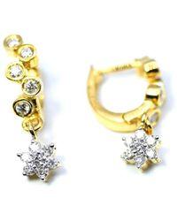 ERAYA 18kt Yellow Gold Snaky Diamond Hoops With Diamond Drops - Metallic