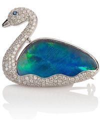 Mara Hotung 18kt White Gold Opal & Diamond Swan Brooch - Multicolor