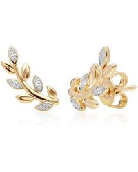 Gemondo Jewellery Gemondo 9kt Yellow Gold O Leaf Diamond Pavé Stud Earrings - Metallic