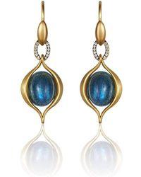 Anahita Jewelry - 18kt Yellow Gold Labradorite Earrings With Diamond - Lyst