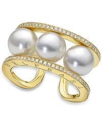 BELPEARL - A Pearl Legacy - Kobe Akoya Ring With Diamonds - Lyst