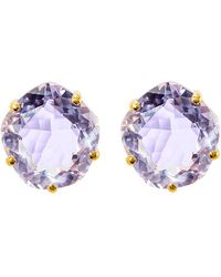 Mishanto London - Talya 18kt Yellow Gold Amethyst Stud Earrings - Lyst