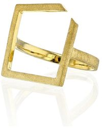 Ilda Design Gold Plated Ring With Square Top - Metallic