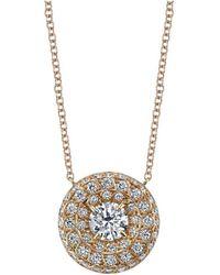 Harry Kotlar - Round Diamond Solitaire Chevron Artisan Pave Necklace - Lyst