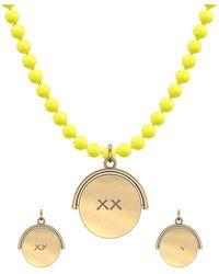 Allumer Yellow Gold Plated Flicker Of Light Necklace Xx - Purple