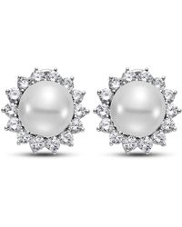 Isaac Westman 14kt White Gold South Sea Pearl And Diamond Earrings