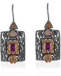 Emma Chapman Jewels Brooklyn Garnet Diamond Earrings - Multicolour