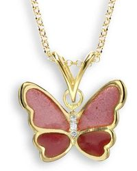 Nicole Barr - 18kt Gold Pink Butterfly Necklace - Lyst
