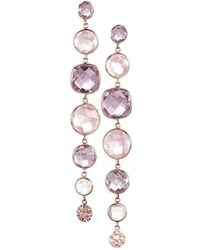 BCOUTURE - Multi Stones Pellet Accent Drop Rose Gold Earrings - Lyst